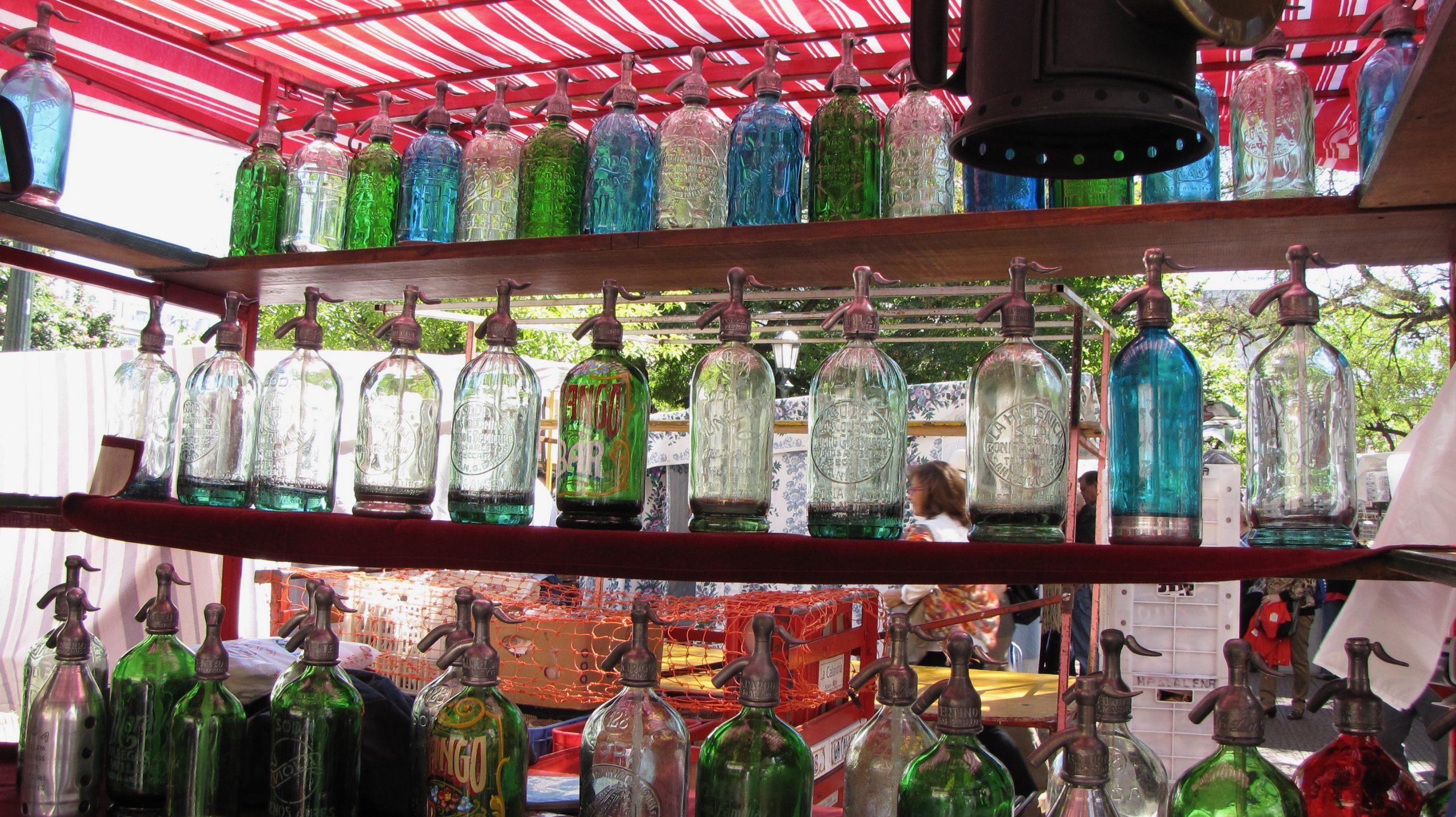 view of booth at San Telmo street fair
