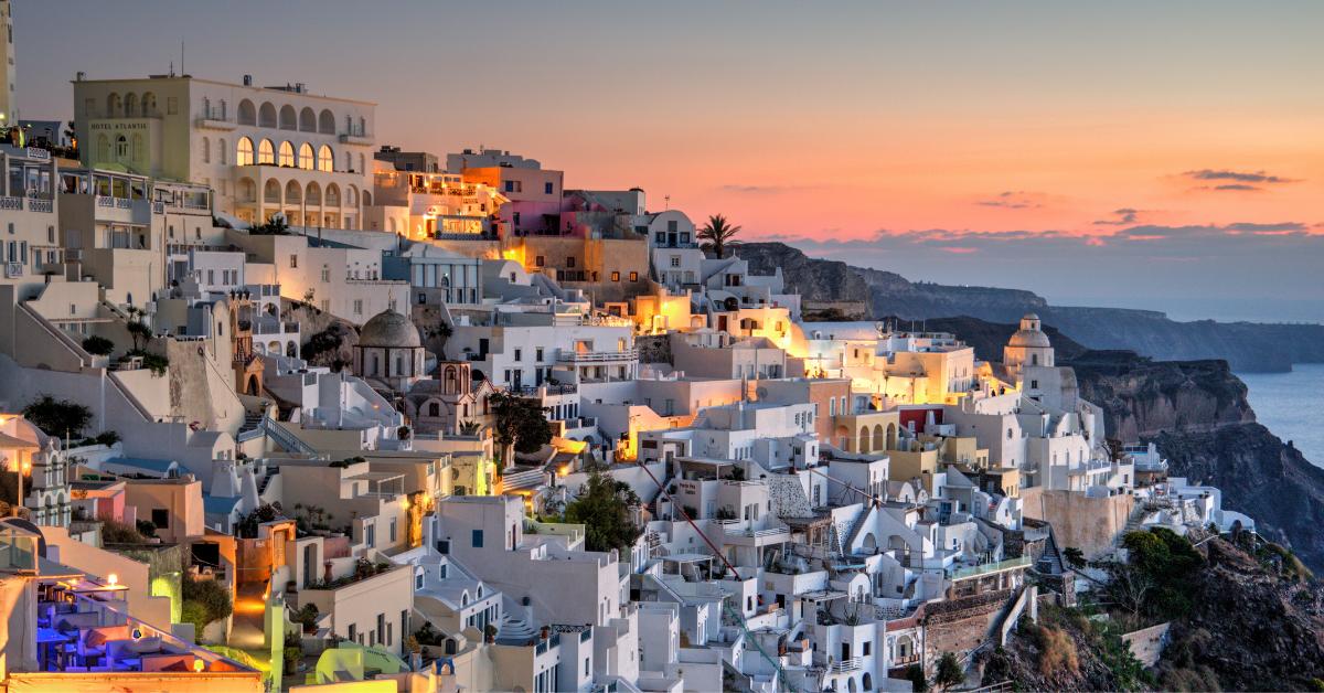 Sunset view in Oia, Santorini Greece