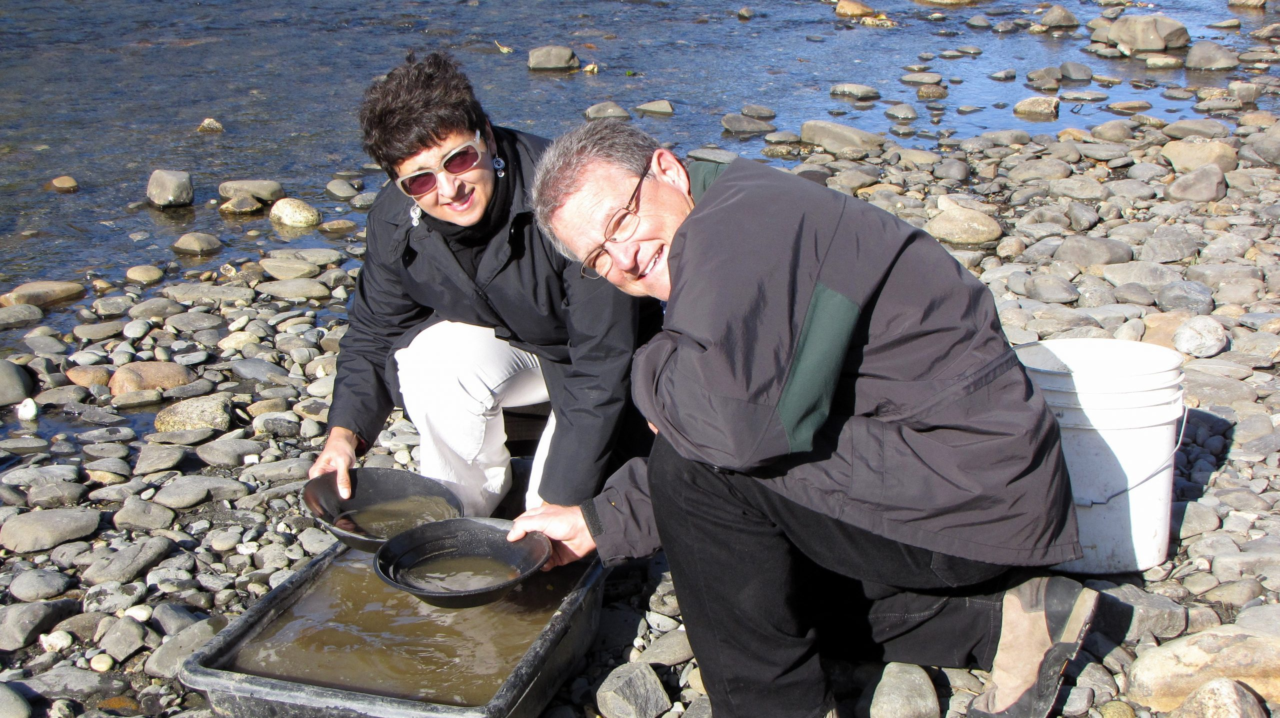 Charlie and Cindy panning for gold.