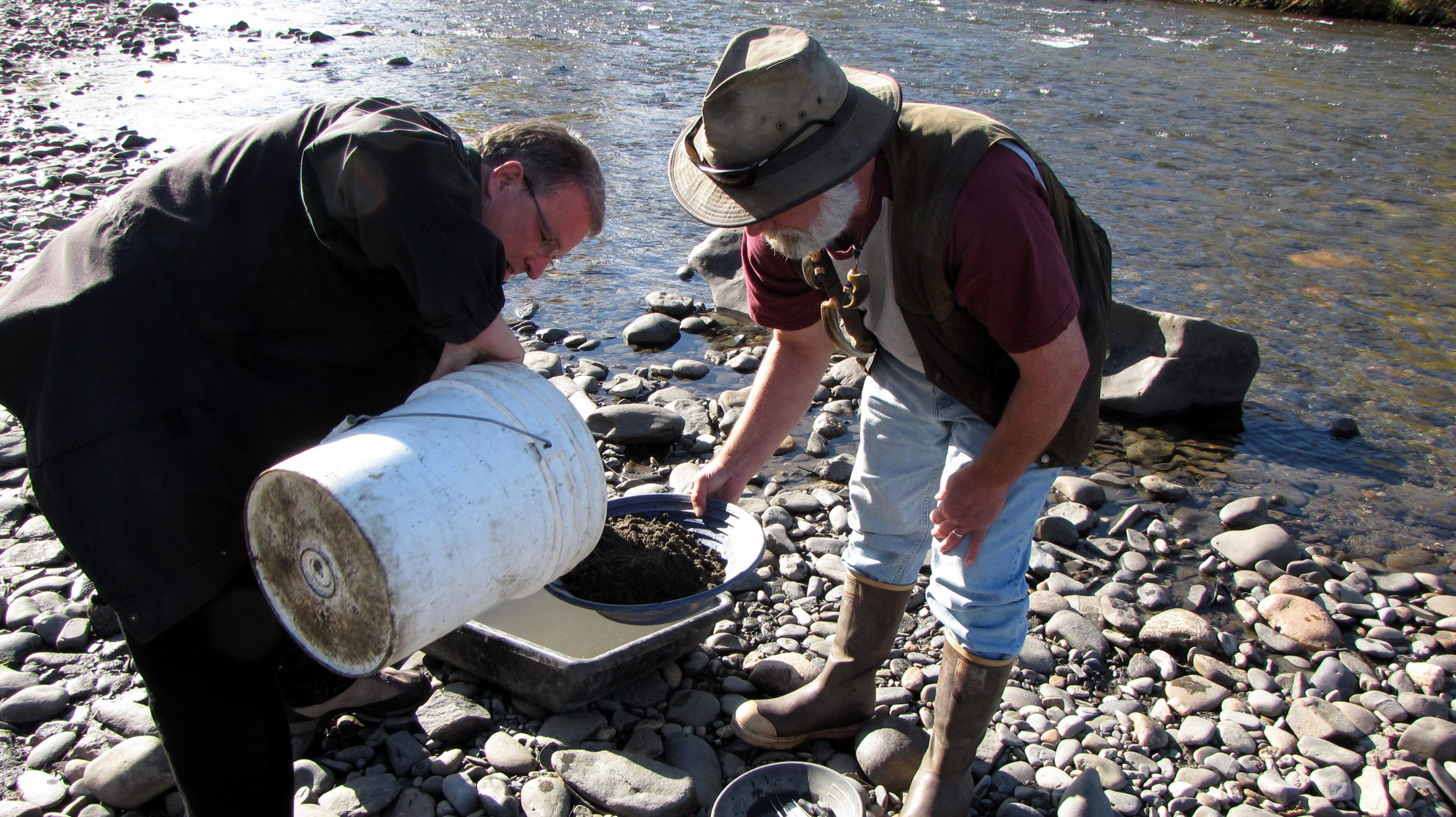 Charlie and guide panning for gold