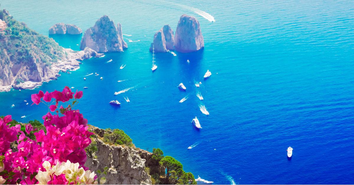 View of the Faraglioni from the island of Capri, off of the Amalfi Coast