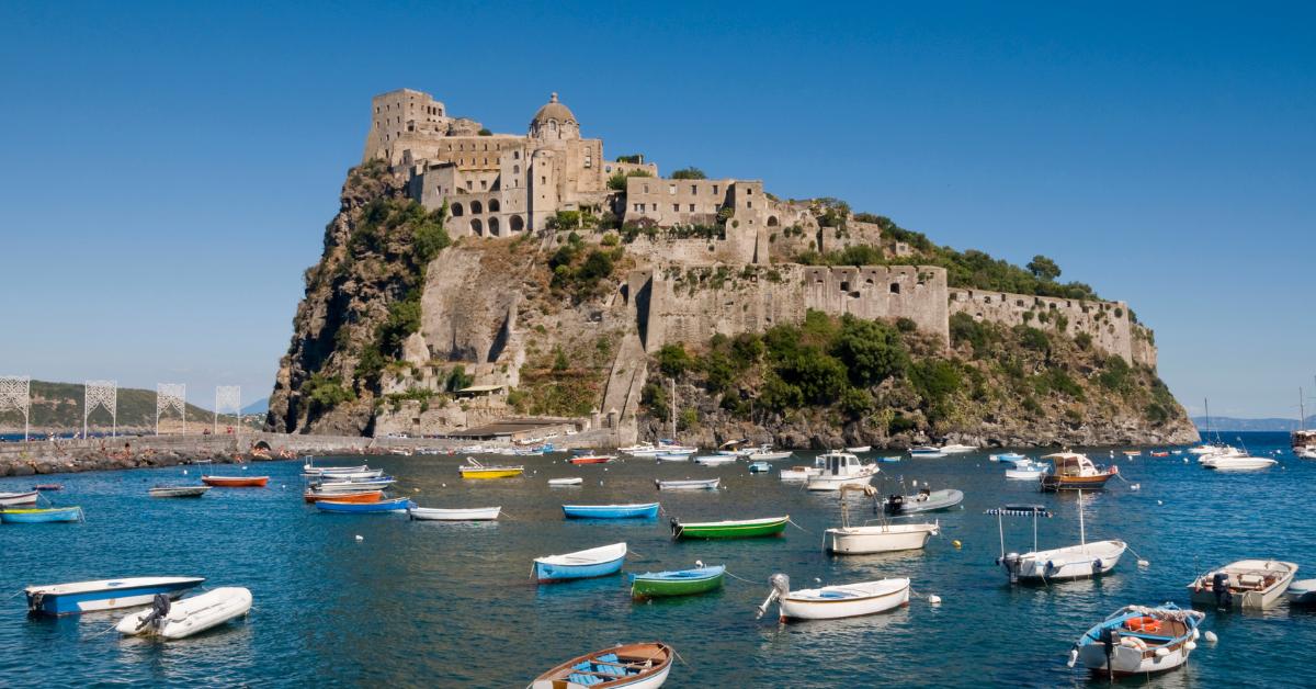 Ischia's Castello Aragonese off of Amalfi Coast