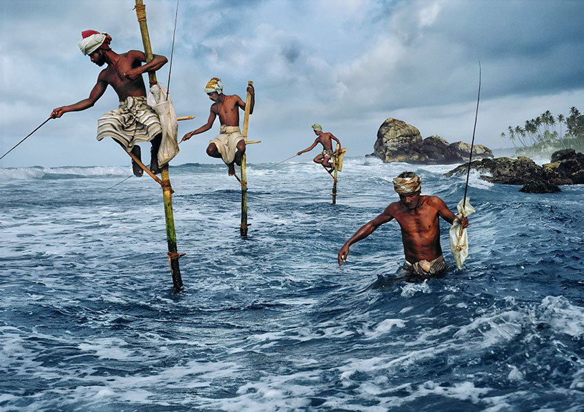 Traditional fishing techniques in Galle Fort, Sri Lanka