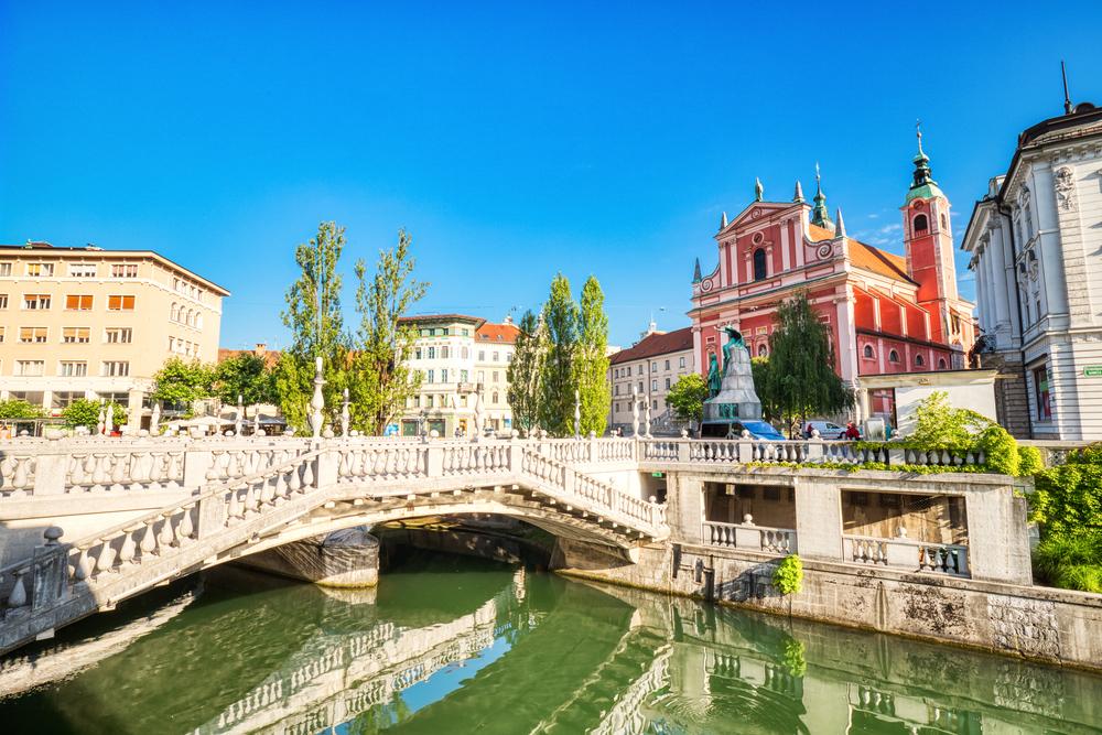 Pelcnik's Triple Bridge in Ljubljana, Sloevenia