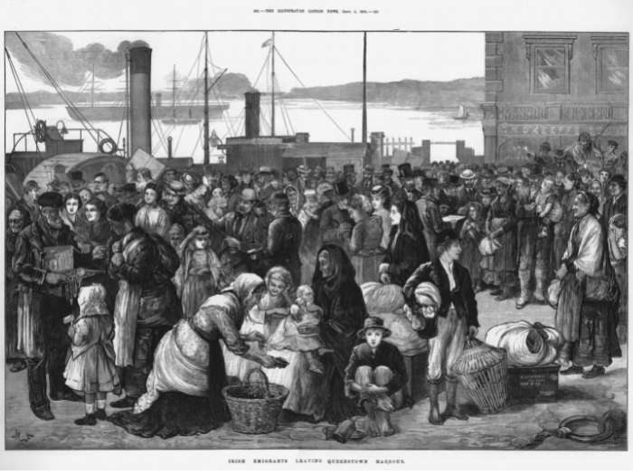 Emigrants on the docks at Cobh prior to travel.